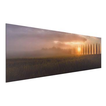 Immagine del prodotto Stampa su alluminio - Dawn Tuscany - Panoramico orizzontale