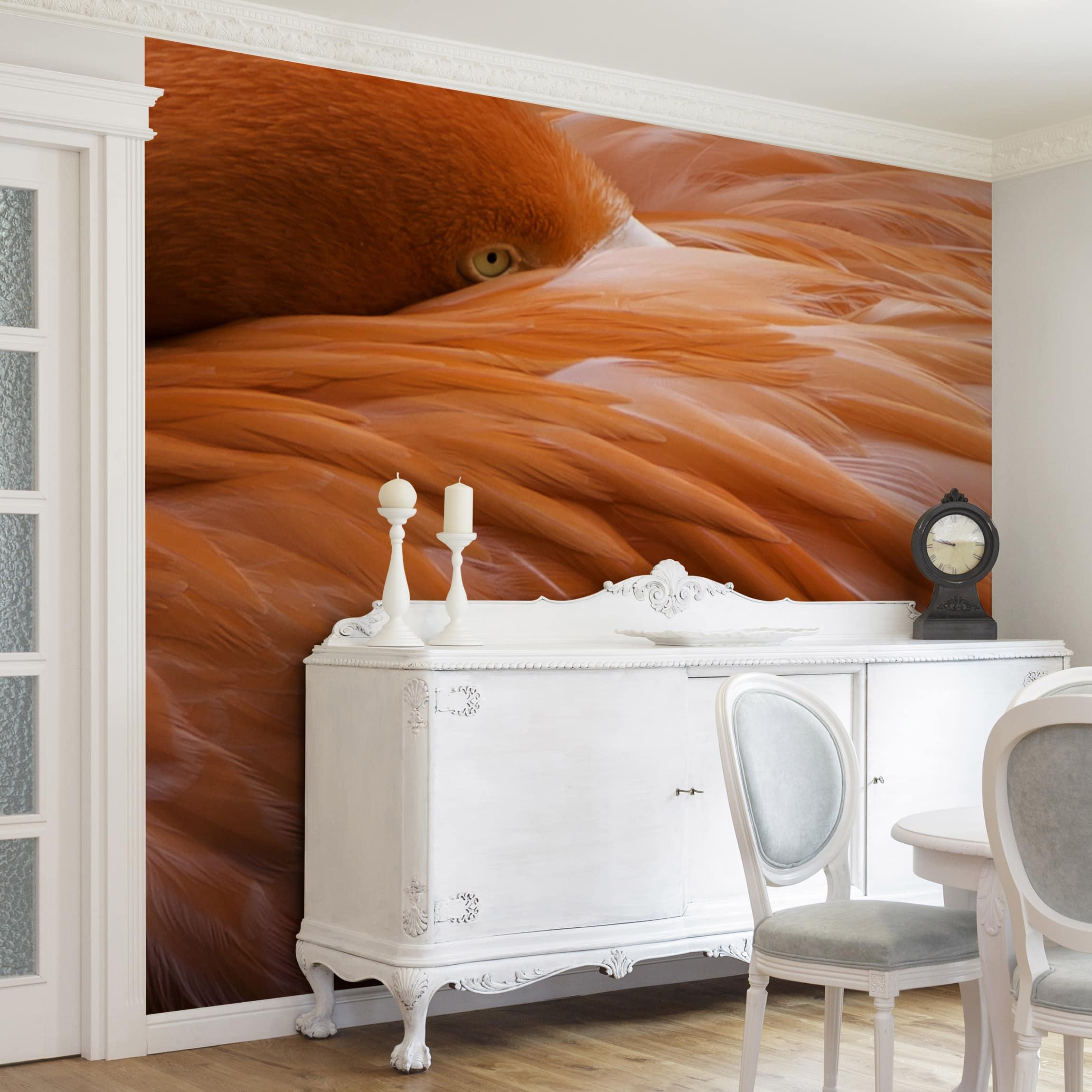 tapete selbstklebend flamingofedern wandbild quadratisch. Black Bedroom Furniture Sets. Home Design Ideas