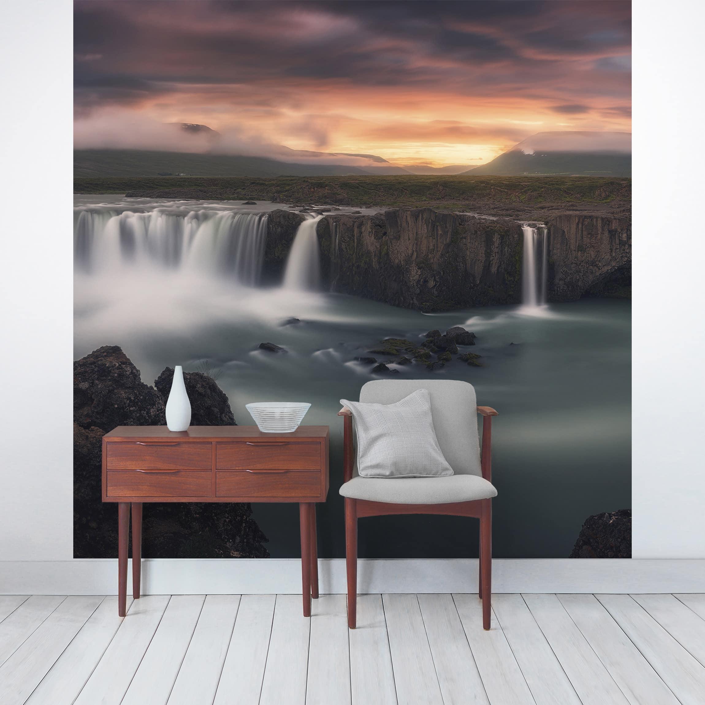 tapete selbstklebend go afoss wasserfall in island wandbild quadratisch. Black Bedroom Furniture Sets. Home Design Ideas