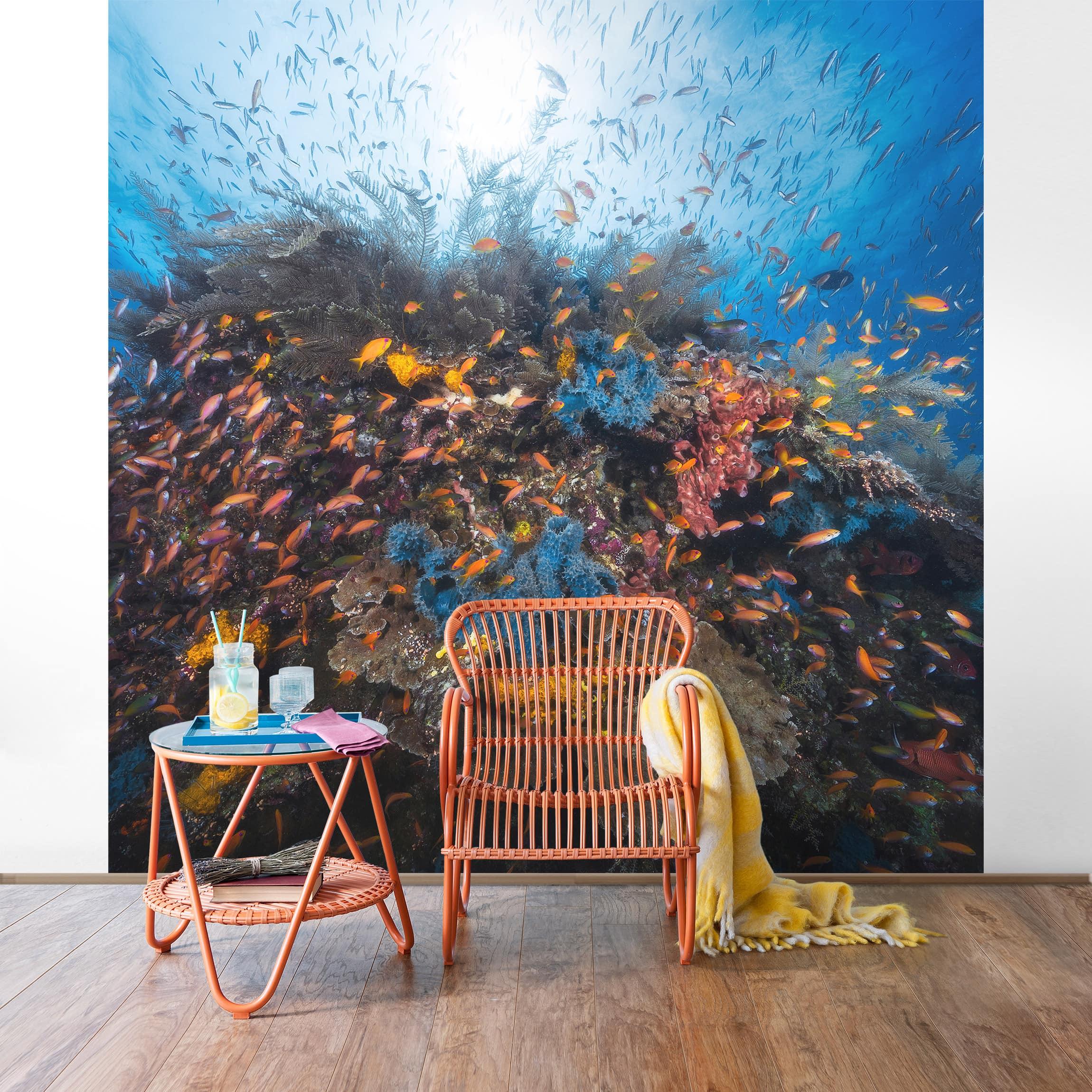 tapete selbstklebend lagune mit fischen wandbild quadratisch. Black Bedroom Furniture Sets. Home Design Ideas