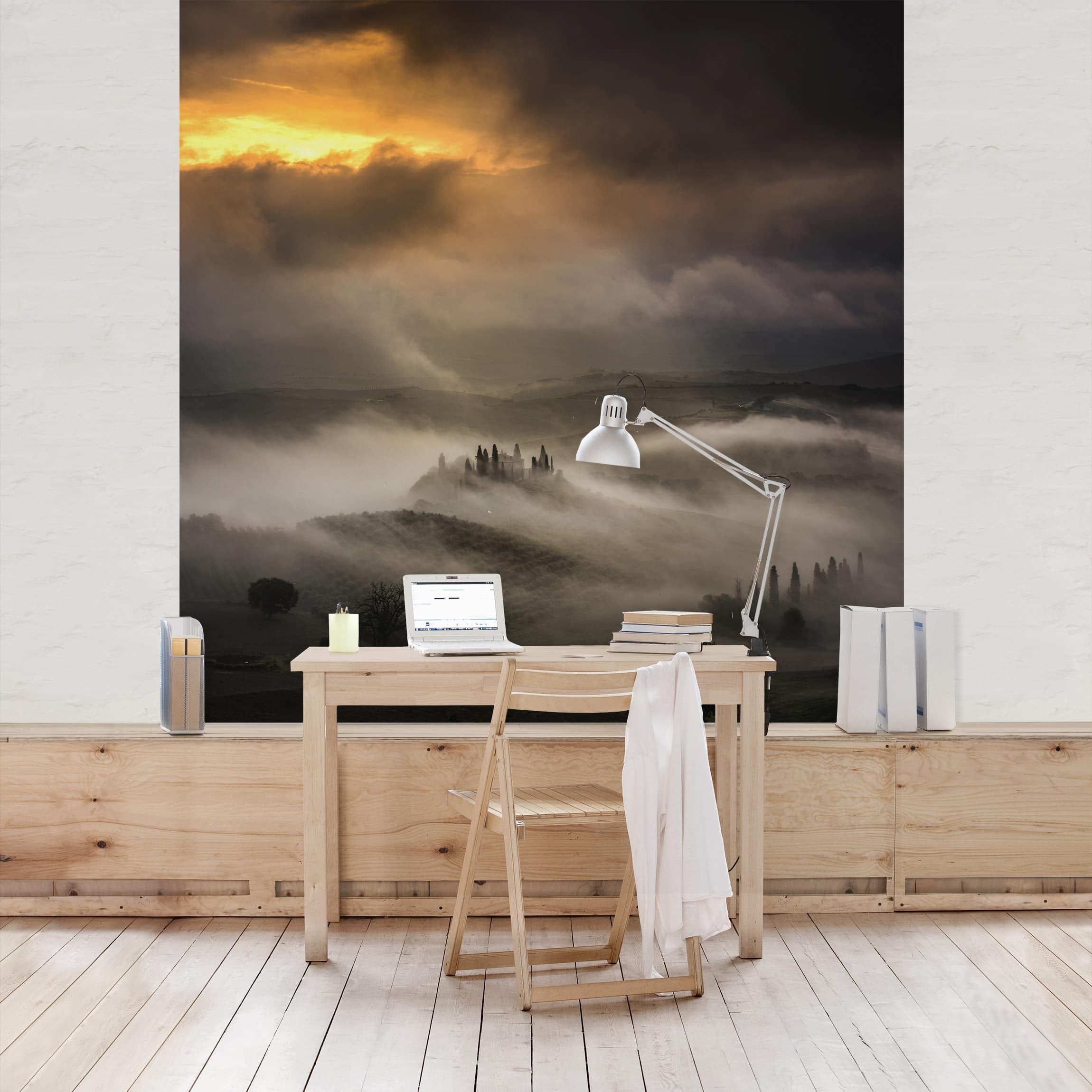 tapete selbstklebend nebelwellen wandbild quadratisch. Black Bedroom Furniture Sets. Home Design Ideas