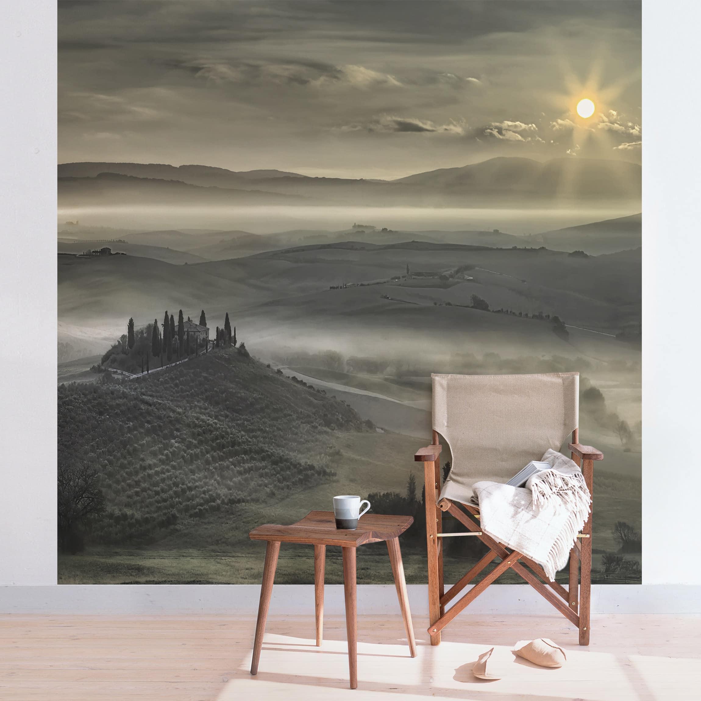 tapete selbstklebend toskana morgen wandbild quadratisch. Black Bedroom Furniture Sets. Home Design Ideas