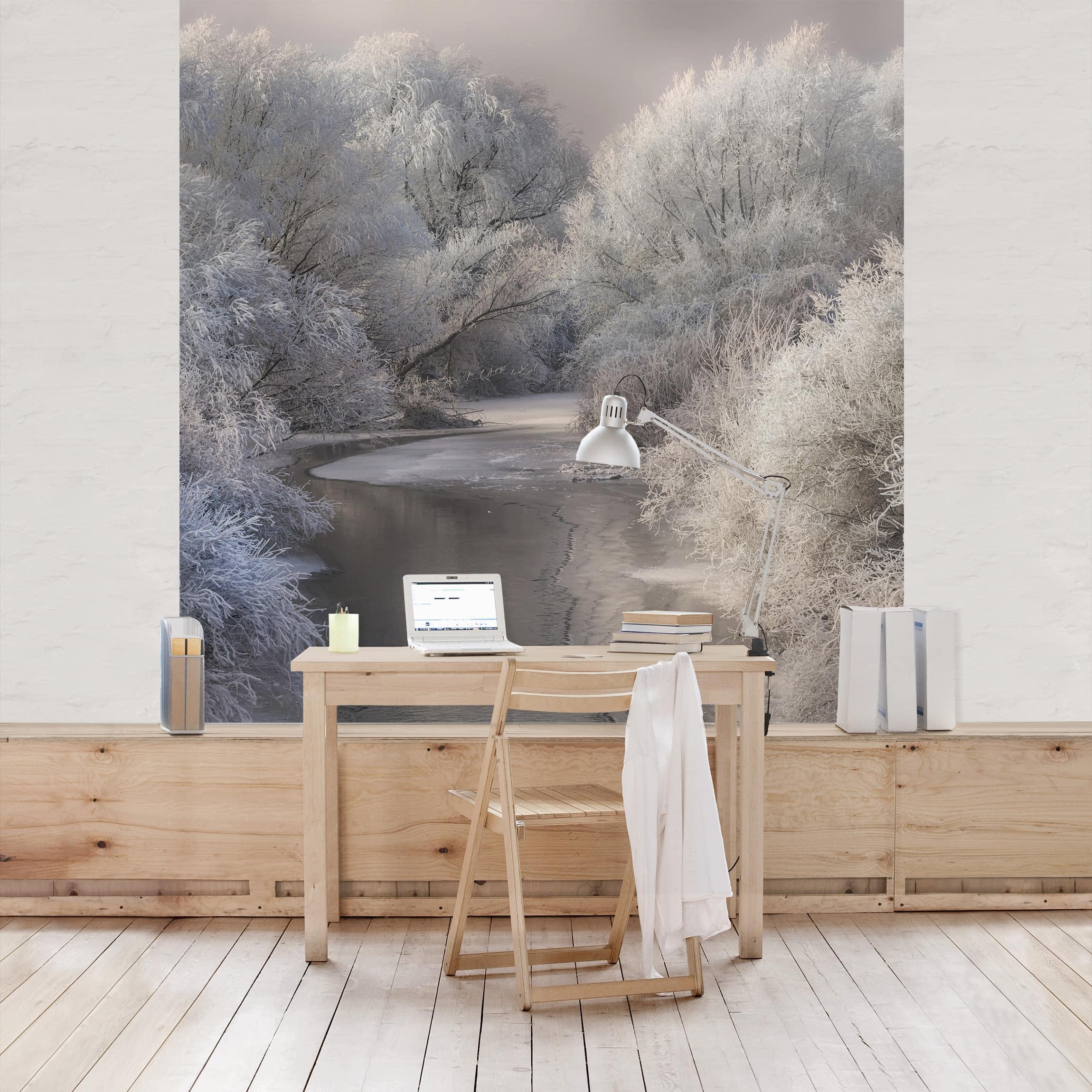 tapete selbstklebend winter song wandbild quadratisch. Black Bedroom Furniture Sets. Home Design Ideas