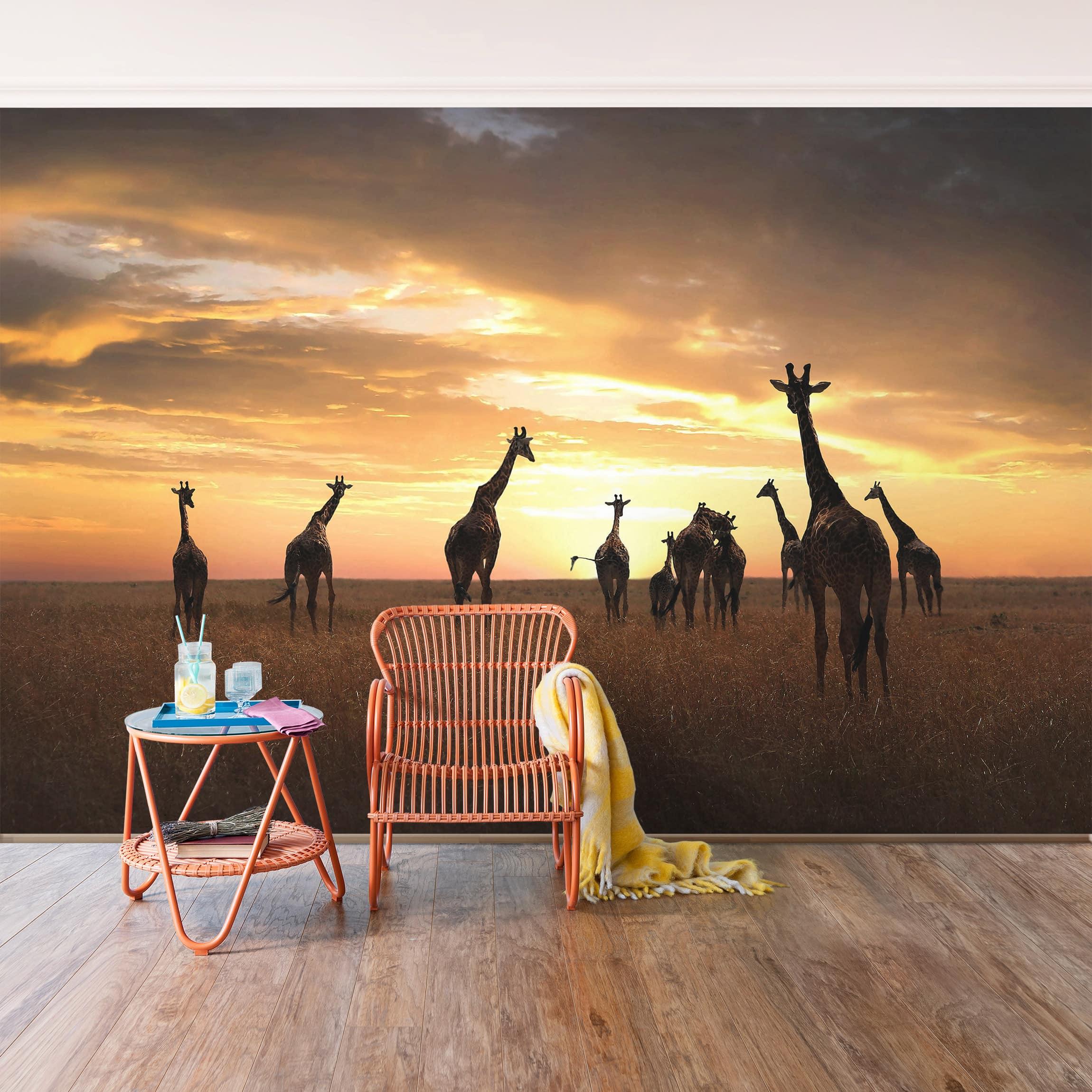 Tapete selbstklebend giraffen familie wandbild querformat - Wandbild familie ...