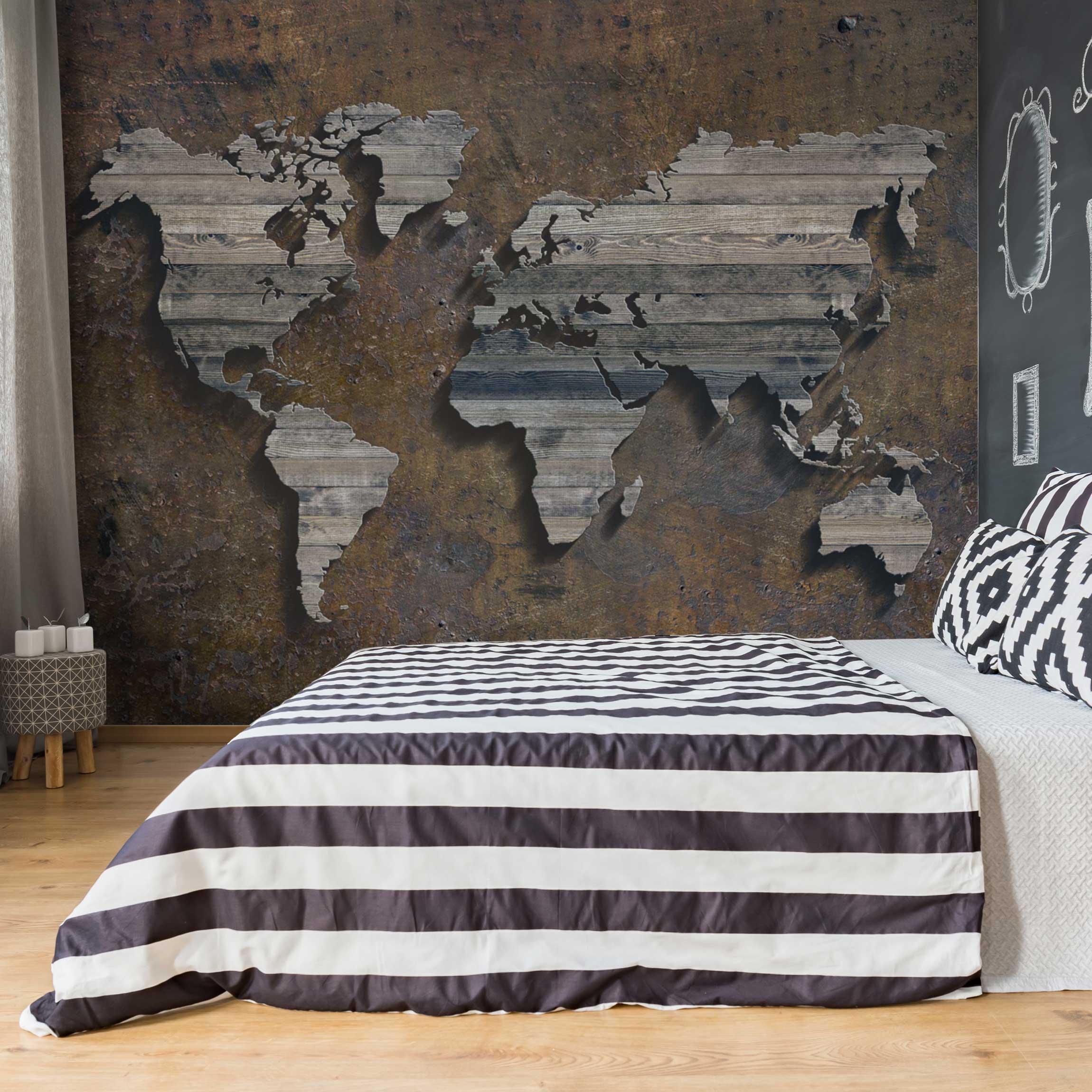 tapete selbstklebend holz rost weltkarte wandbild querformat. Black Bedroom Furniture Sets. Home Design Ideas