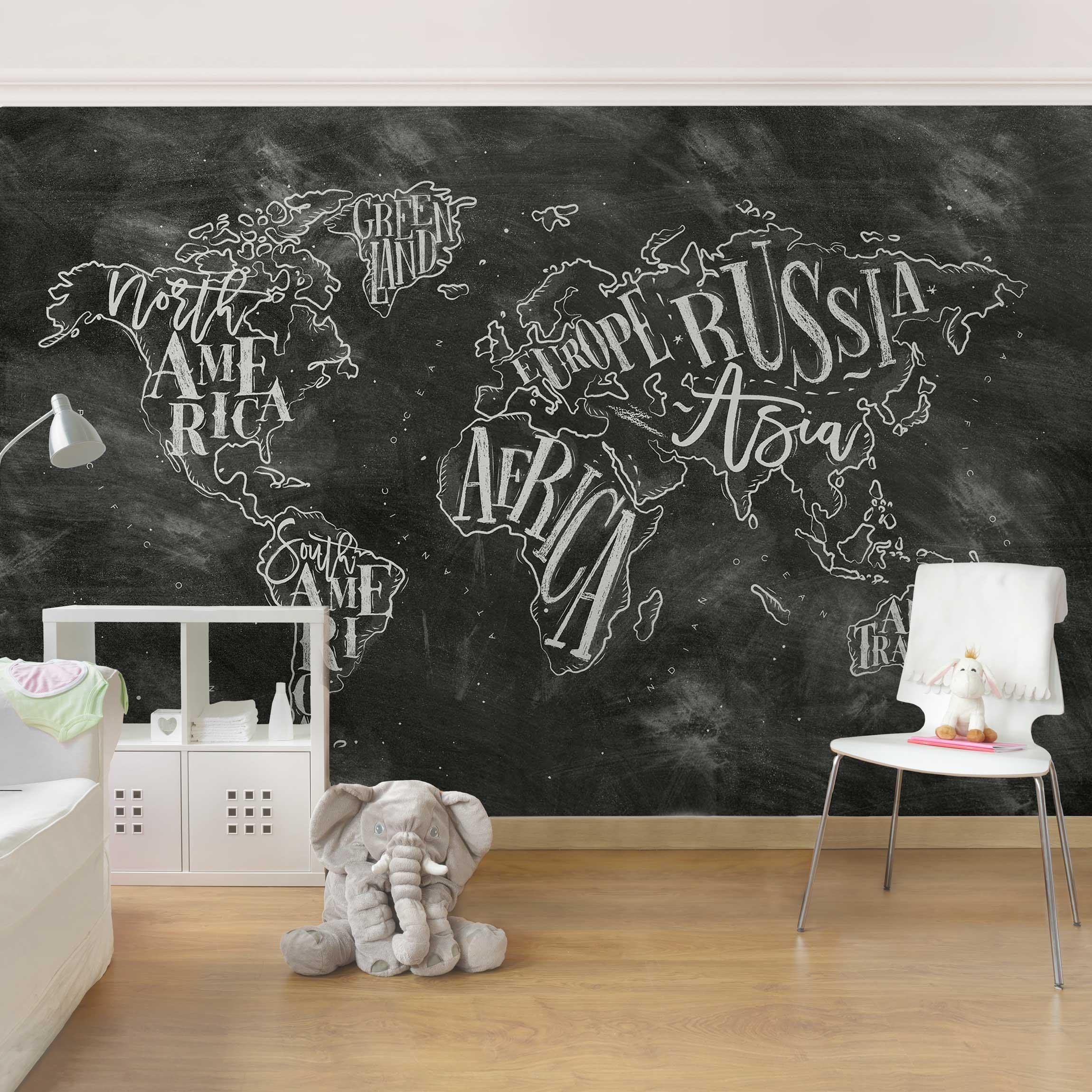 Tapete selbstklebend Kreide Weltkarte  Wandbild Qu - Kreide Tapete