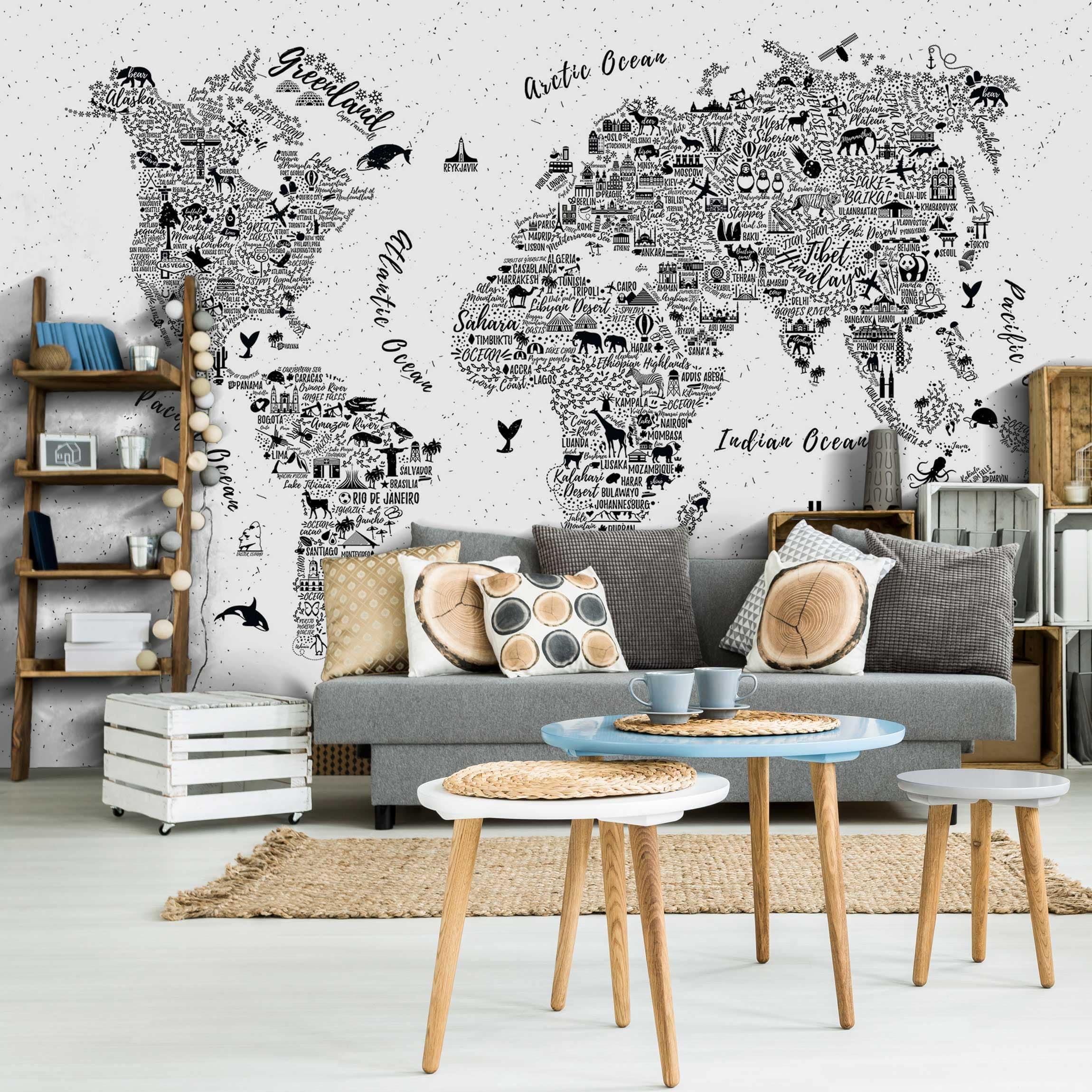 tapete selbstklebend typografie weltkarte wei wandbild querformat. Black Bedroom Furniture Sets. Home Design Ideas