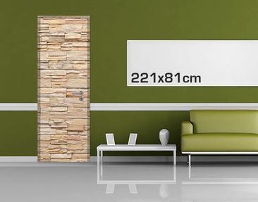 Product picture Door Photo Wall Mural - Asian Stonewall...