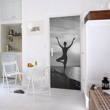 Product picture Door Photo Wall Mural - Yoga White Black