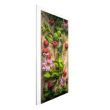 Immagine del prodotto Carta da parati per porte - Flowers Raspberry Mint - 215cm x 96cm