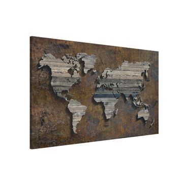 Produktfoto Magnettafel - Holz Rost Weltkarte - Memoboard Querformat 2:3