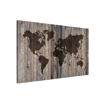 Produktfoto Magnettafel - Holz Weltkarte - Memoboard Querformat 2:3