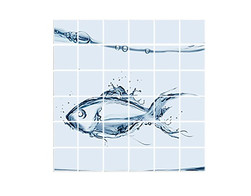 Produktfoto Fliesenbild Liquid Silver Fish