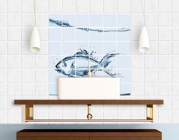 Produktfoto Tile Mural Liquid Silver Fish
