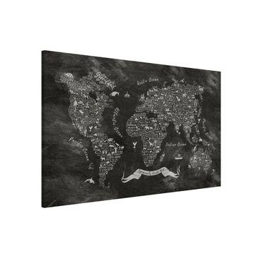 Produktfoto Magnettafel - Kreide Typografie Weltkarte - Memoboard Querformat 2:3
