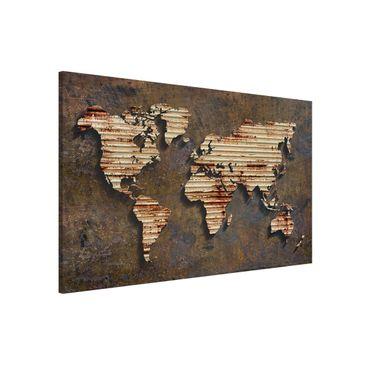 Produktfoto Magnettafel - Rost Weltkarte - Memoboard Querformat 2:3