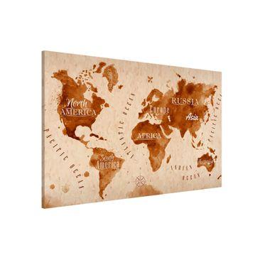 Produktfoto Magnettafel - Weltkarte Aquarell beige braun - Memoboard Querformat 2:3