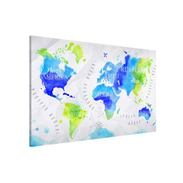Produktfoto Magnettafel - Weltkarte Aquarell blau...