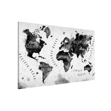 Produktfoto Magnettafel - Weltkarte Aquarell schwarz...
