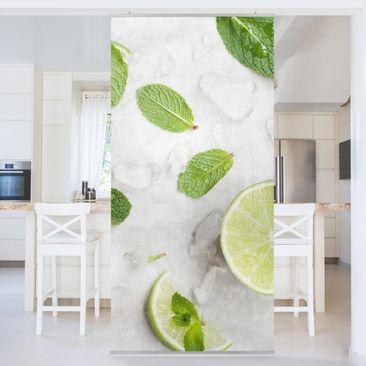 Produktfoto Raumteiler - Limetten Minze auf Eiswürfel - 250x120cm
