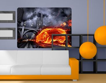Produktfoto Wall Mural Car in Fire