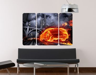 Product picture Wall Mural Car in Fire Triptych II