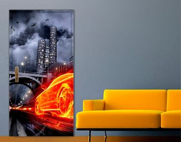 Product picture Door Wall Mural Car in Fire