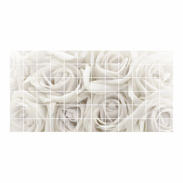 Product picture Tile Mural White Roses
