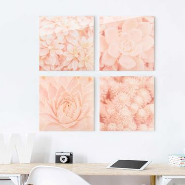 Immagine del prodotto Quadro in vetro - Pink Flower Magic - 4 parti set