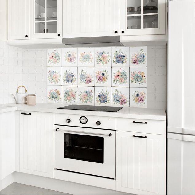 Produktfoto Spritzschutz Glas - Aquarell Blumen Landhaus - Querformat 1:2