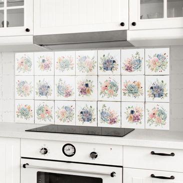 Produktfoto Spritzschutz Glas - Aquarell Blumen Landhaus - Panorama