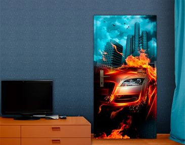Product picture Door Wall Mural Burning Asphalt