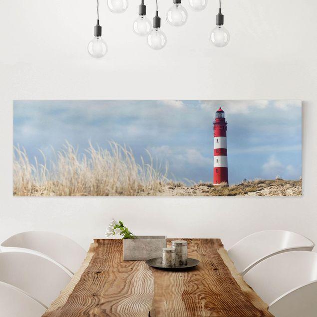 Produktfoto Leinwandbild - Leuchtturm in den Dünen - Panorama 1:3, in Wohnambiente, Artikelnummer 224728-WA