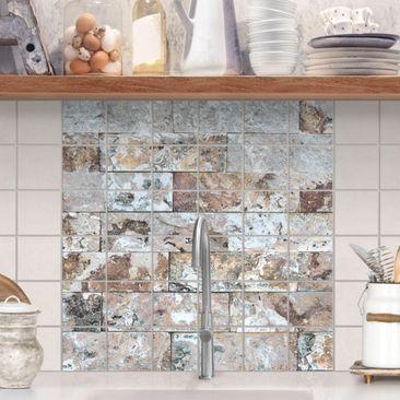 Produktfoto Fliesenbild - Naturmarmor Steinwand - Fliesensticker Set quadratisch