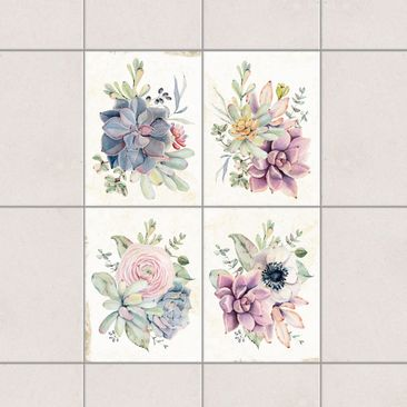 Product picture Tile Sticker 4-part set - Watercolor...