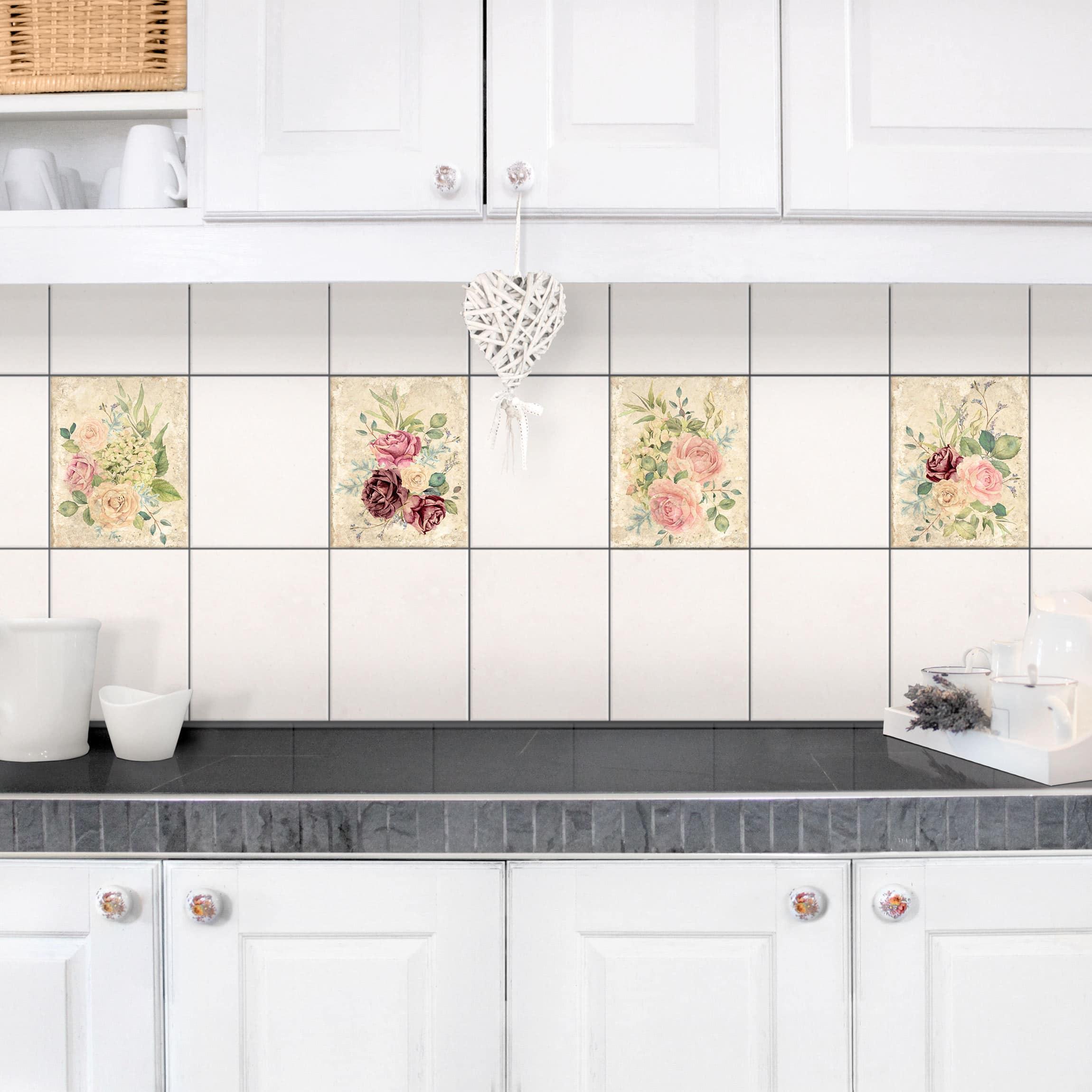 Fliesenaufkleber 4er set vintage rosen und hortensien for Fliesenaufkleber 20x25
