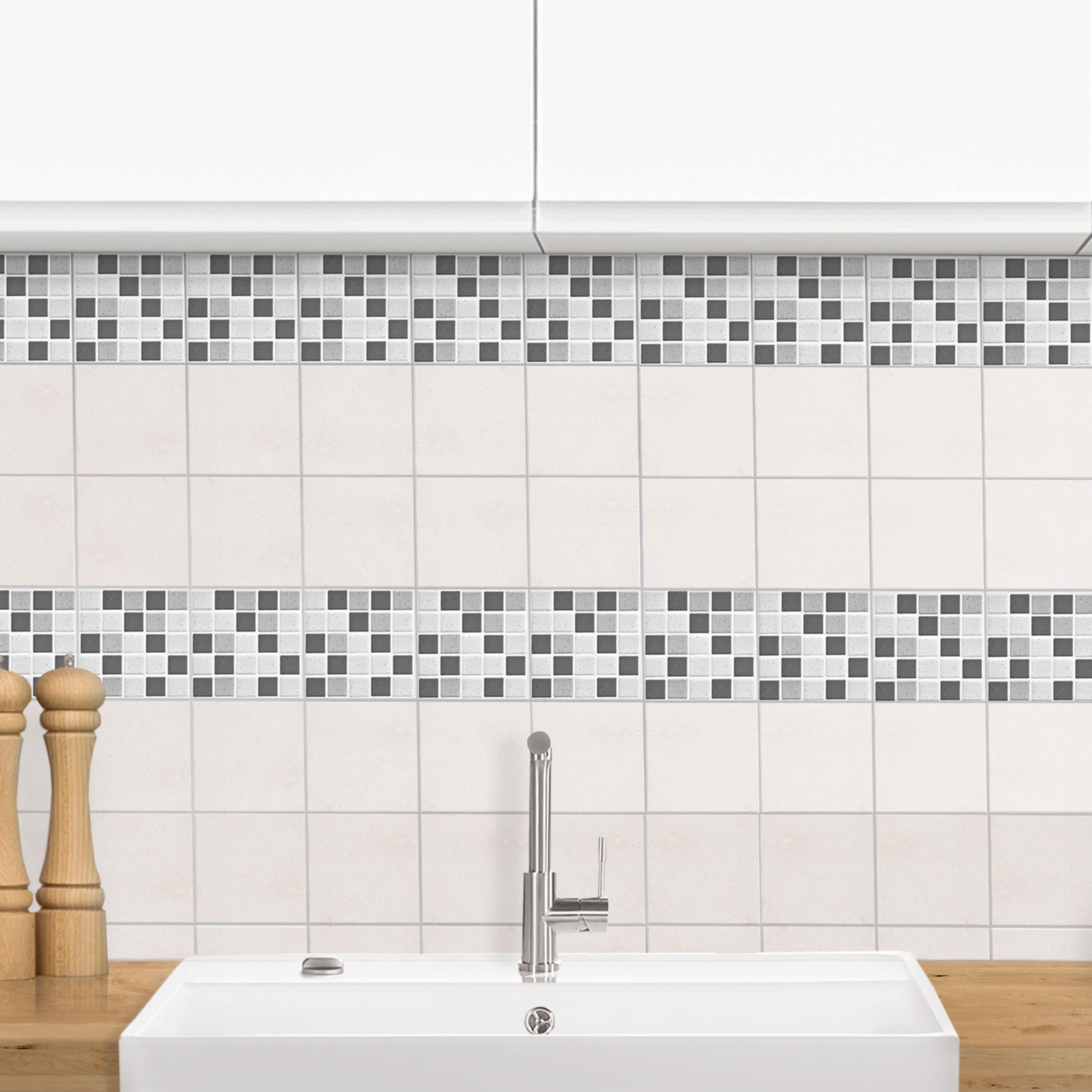 fliesen bord re mosaikfliesen grau 10x10 cm fliesensticker set. Black Bedroom Furniture Sets. Home Design Ideas