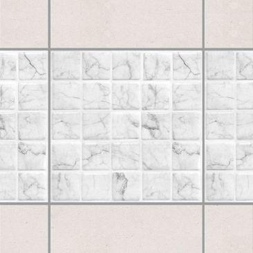 Produktfoto Fliesen Bordüre - Mosaikfliese Mamoroptik Bianco Carrara 10x10 cm - Fliesensticker Set