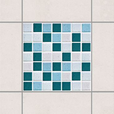 Product picture Tile Sticker - Mosaic Tiles Turquoise...