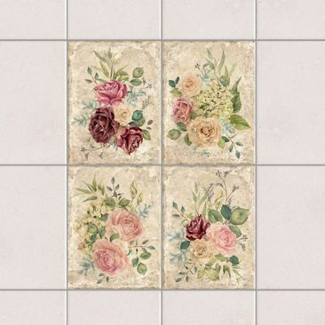 Product picture Tile Sticker 4-part set - Vintage Roses...