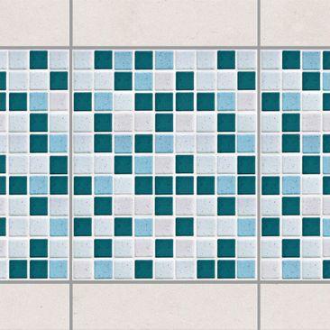 Produktfoto Fliesen Bordüre - Mosaikfliesen Türkis Blau 20x25 - Fliesensticker Set
