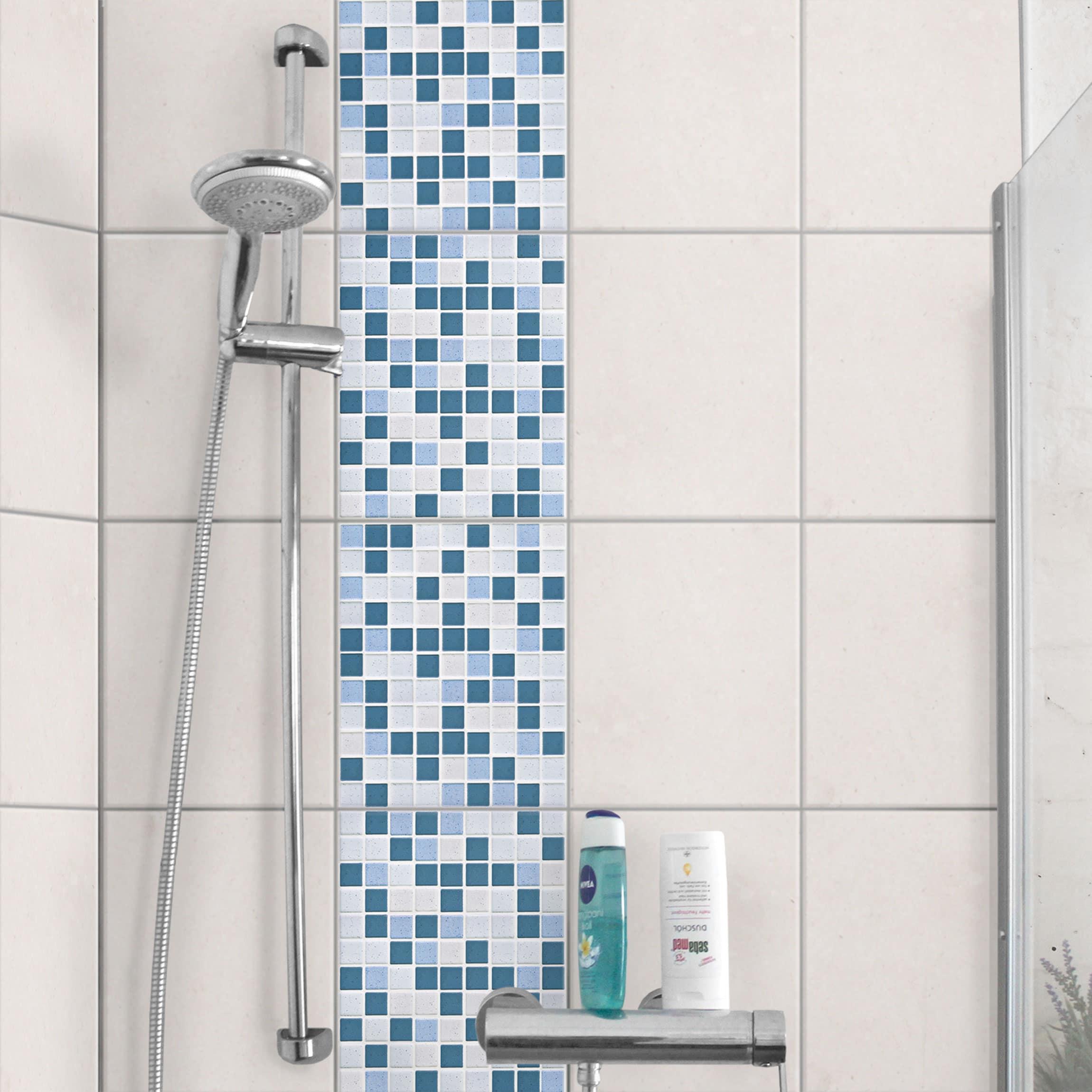 Fliesen Bordure Mosaikfliesen Blau Grau 20x25 Fliesensticker Set