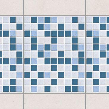 Produktfoto Fliesen Bordüre - Mosaikfliesen Blau Grau 20x25 - Fliesensticker Set