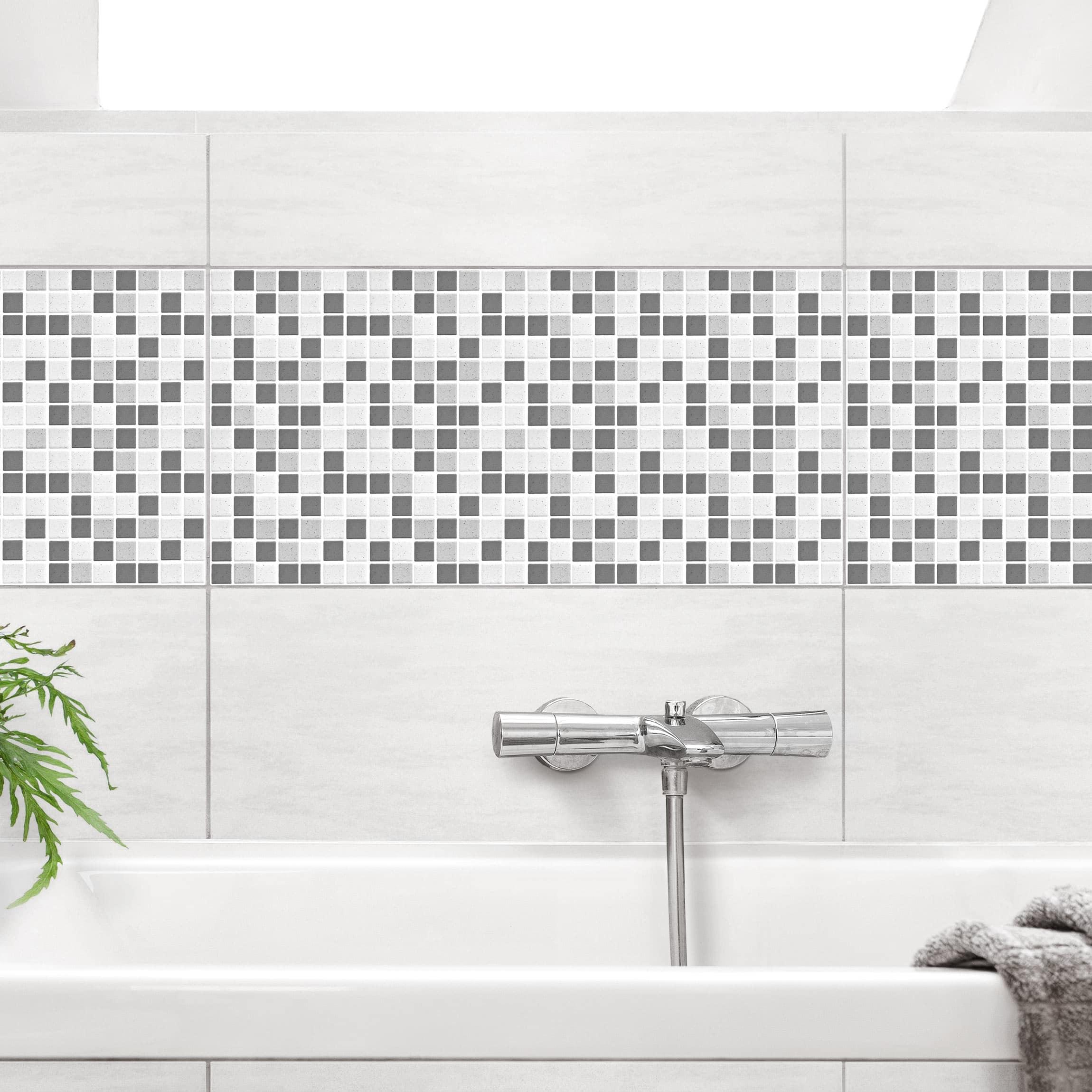 Fliesen Bordure Mosaikfliesen Grau 60x30 Fliesensticker Set