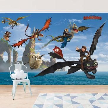 Produktfoto Tapete selbstklebend - Dragons - Jagd nach dem Schaf - Wandbild Querformat