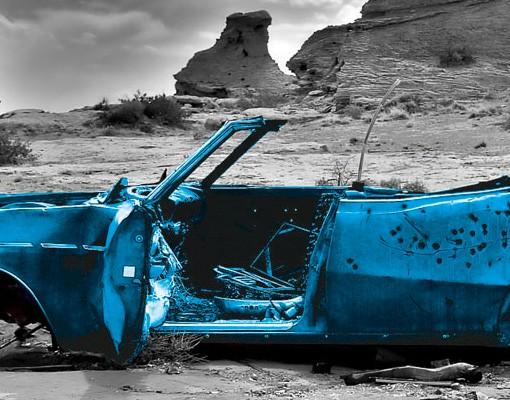 Produktfoto Selbstklebendes Wandbild Türkiser Cadillac Triptychon II