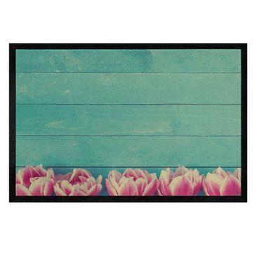 Produktfoto Fußmatte - Rosa Tulpen auf Türkis