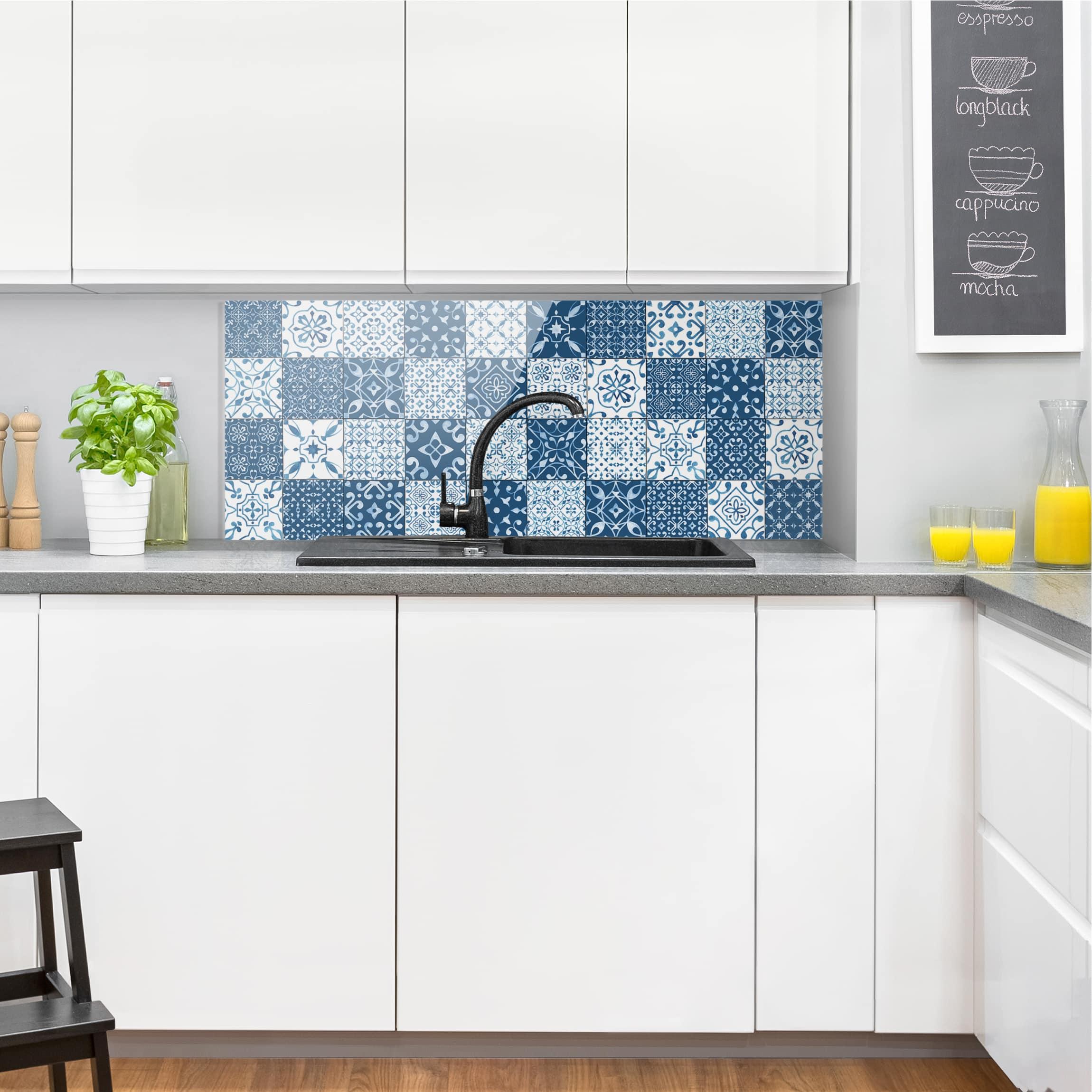spritzschutz glas fliesen mustermix blau wei panorama. Black Bedroom Furniture Sets. Home Design Ideas