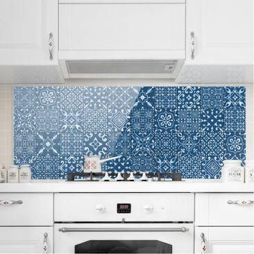 Produktfoto Spritzschutz Glas - Musterfliesen Dunkelblau Weiß - Panorama