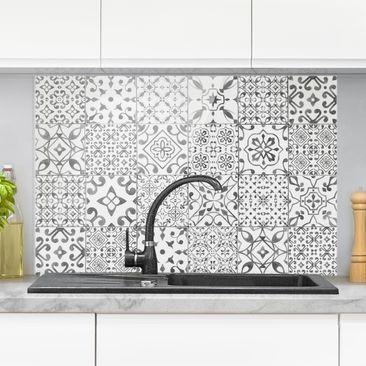 Immagine del prodotto Paraschizzi in vetro - Pattern Tiles Gray White - Orizzontale 2:3